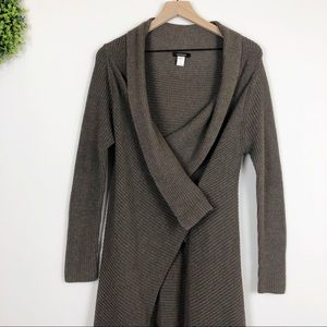 Kerisma Brown Waffle Knit Wrap Button Front Duster